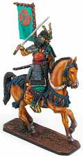 Оловянный солдатик. Самурай на лошади. 54 мм.
